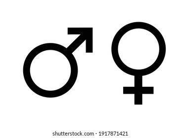 sign for male and female, black and white image isolated on white background