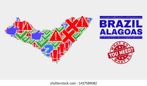 Sign Mosaic Alagoas State map and seal stamps. Red rounded What Do You Need? grunge seal stamp. Colorful Alagoas State map mosaic of different scattered elements. Vector abstract composition.