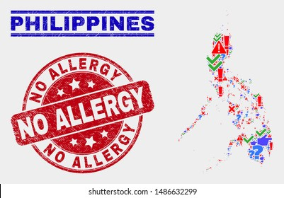 Sign Mosaic Philippines map and watermarks. Red rounded No Allergy grunge stamp. Bright Philippines map mosaic of different randomized items. Vector abstract composition.