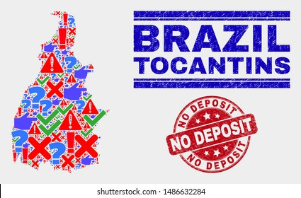 Sign Mosaic Tocantins State map and seal stamps. Red round No Deposit scratched seal. Colorful Tocantins State map mosaic of different randomized symbols. Vector abstract collage.