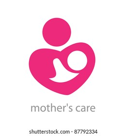 Sign - a mother's care. The symbol of parental love. Vector template.