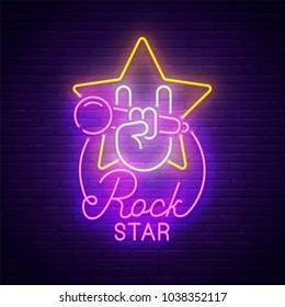 Sign neon. Rock music. Rock Star banner, logo, emblem and label. Bright signboard, light banner.  Vector illustration.