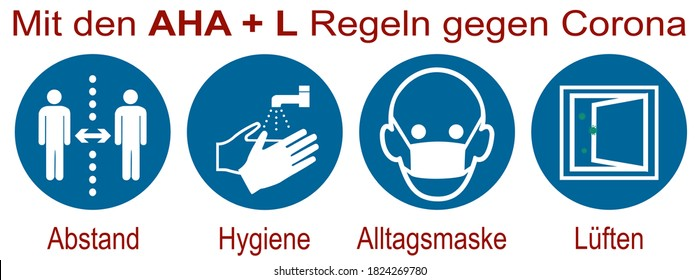 "Sign with the new AHA + L rule. German text: ""With the AHA rules + L rules (distance, hygiene, everyday mask) against Corona. Vector file"