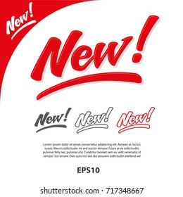 Sign New in Vector, hand written. Great for packaging design.