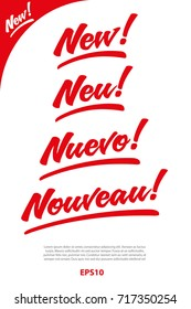 Sign New in Vector hand written in English, German, Spanish and French. Great for packaging design.