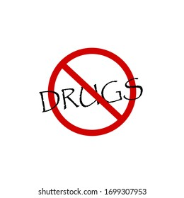 sign no drugs vector icon