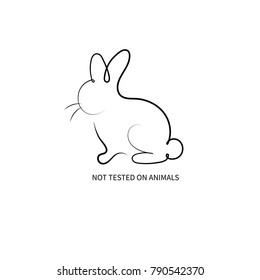Sign not test on animals. Hand drawn silhouette of rabbit, bunny, hare. Vector illustration