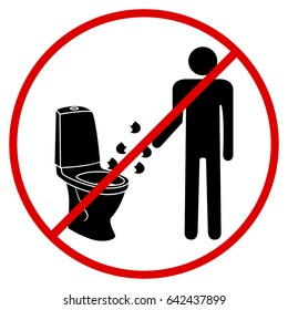 sign not to throw garbage in toilet vector icon