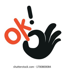 Sign of Ok! vector  flat illustration