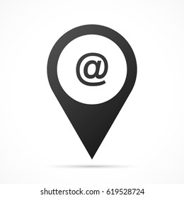 At sign on map pin. Location pointer isolated on a white background. Conceptual vector illustration.