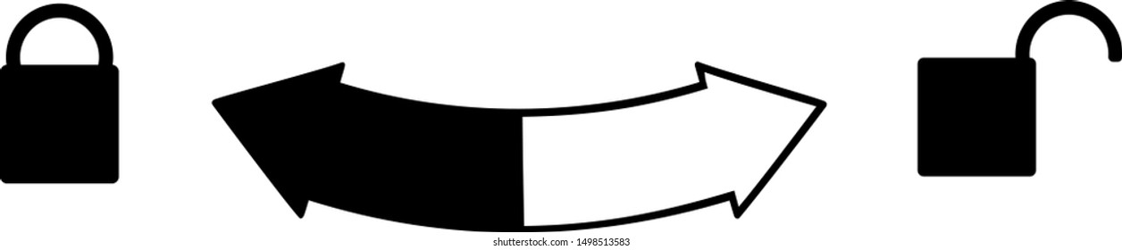 Sign open close and a semicircular arrow between the locks. Open unlocked lock on the left. Right closed. Vector icon for web, bottles with caps