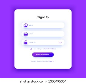 The Sign Up page. Purple gradient. Registration form. Modern abstract background. Professional web design. Violet color.