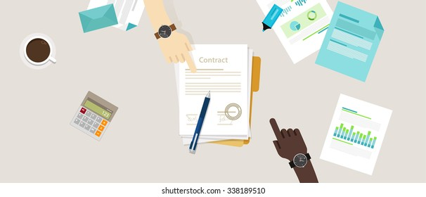 sign paper deal contract agreement hand pen on desk two people flat business illustration vector