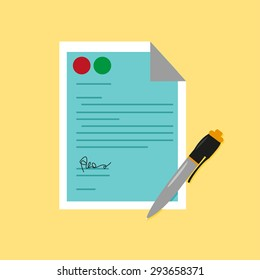 Sign Pen with a Signed Document. Editable Clip Art.