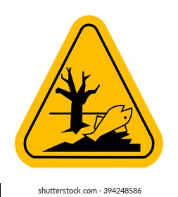 Sign of poisonous in yellow triangle. Dead fish. Vector illustration.