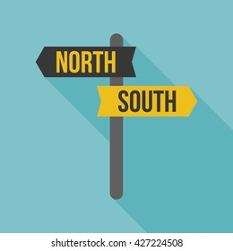 sign post icon, north and south direction, flat design
