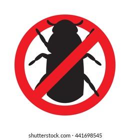 Sign prohibiting bark beetle. Vector illustration.