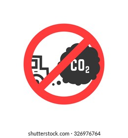sign prohibiting emissions carbon dioxide. isolated on white background. flat style trend modern logo design vector illustration