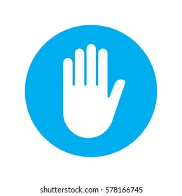 Sign push hand blue icon. Vector illustration.