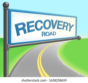sign for recovery road that hangs over  a road that is winding through a green field on a sunny day - concept for addiction recovery