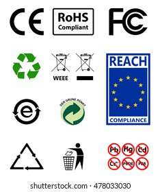 Sign of recycling. Environmental protection. RoHs compliant. Reach compliance. Sign EU, FC, CE