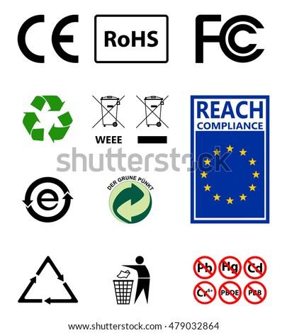 Sign Recycling Environmental Protection Ro Hs Reach Stock Vector