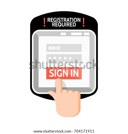 Sign Registration Required Sign On Tablet Stock Vector