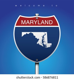 A Sign Road America Style with state of American with blue background and message, MARYLAND and map, vector art image illustration