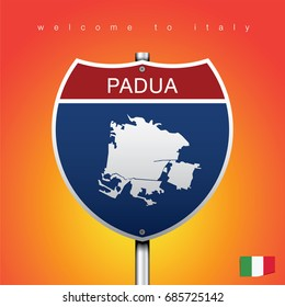 An Sign Road America Style with state of Italy with Orange background and message, PADUA and map, vector art image illustration