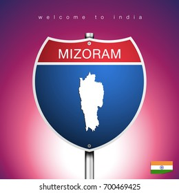 An Sign Road America Style with state of India with pink background and message, Mizoram and map, vector art image illustration