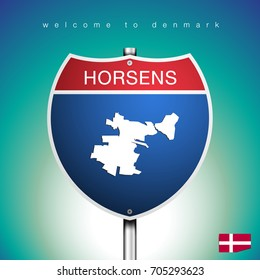 An Sign Road America Style with state of Denmark with Green Turquoise background and message, Horsens and map, vector art image illustration