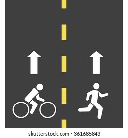 Sign runner and bicycle    on the road, Vector  illustration