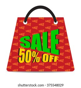 Sign of Sale 50% off with red bag. Special Offer. Discount Price Tag.