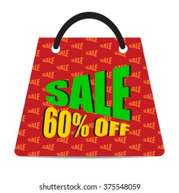 Sign of Sale 60% off with red bag. Special Offer. Discount Price Tag.