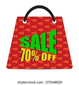 Sign of Sale 70% off with red bag. Special Offer. Discount Price Tag.