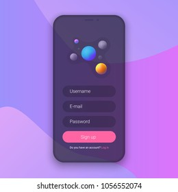Sign Up Screen. Clean Mobile UI Design Concept. Application with Registration Form Window. Trendy Holographic Gradients Shapes. Flat Web Icons. Vector EPS 10