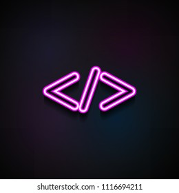 the sign is smaller icon. Element of Minimalistic  icons for mobile concept and web apps. Neon the sign is smaller icon can be used for web and mobile on dark gradient background