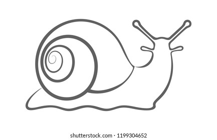 Sign snail. Snail symbol. Isolated black silhouette snail on white background. Icon snail. Vector illustration