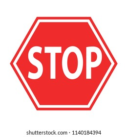 sign stop blocking red on white icon, stock vector illustration