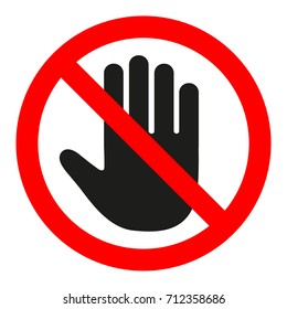 the sign of the stop. the hand in the red circle.