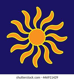 Sign of sun. Colorful sunlight logo. Orange plane icon isolated on blue background. Light flat silhouette. Weather mark. Sunshine symbol. Stock vector illustration