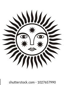 Sign of the sun. Spirit of the sun. Symbol Face. Black and white graphics.