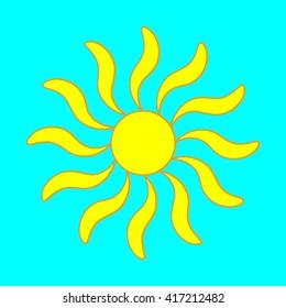 Sign of sun. Yellow plane icon isolated on blue background. Colorfull sunlight logo. Sunshine symbol. Light flat silhouette. Weather mark. Stock vector illustration