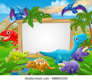 A sign surrounded by cute cartoon dinosaur characters