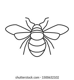 Sign symbol bee clipart black line.