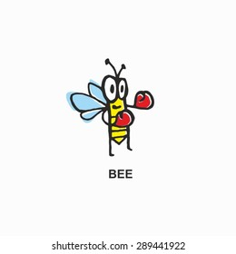 Sign, symbol - Bee - Drawn by hand - Doodle.