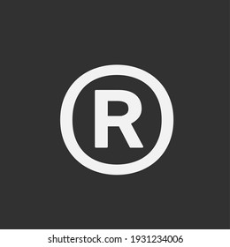 Sign and symbol of copyright logo or icon with dark background.