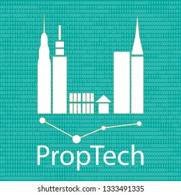 Sign / Symbol of Property Technology : PropTech one of the type of Startup company with decimal number