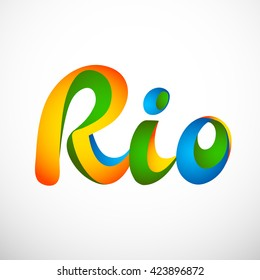 Sign symbol Rio olympics games 2016 in colors of the Brazilian flag. Brazil Carnival. Vector illustration