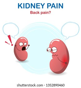 Sign and symptom of kidney disease, bad health. Back pain from a kidney stone, this sign of a kidney problem. Vector modern style cartoon character, help unhealthy kidney concept. Vector illustration
